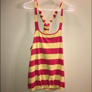 Zenana Outfitters Yellow/Pink striped tank top